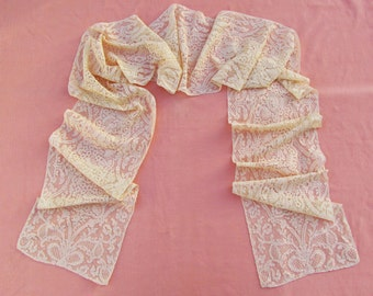 Vintage Alencon lace scarf, c.1930's extra long woman's scarf, pale beige French lace scarf, 10 foot long scarf