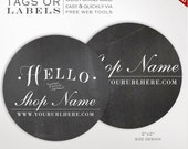 Round Label Template - 2 Inch Circular Chalkboard Label Template - DIY Stickers Printable Product Labels HangTags Avery Silhouette LB2R AAA