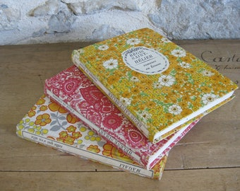 3 French romantic fiction books with retro floral hardback covers