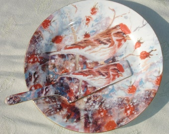 Judy Buswell Winter Watch Cardinal Platter Plate and Server Utensil