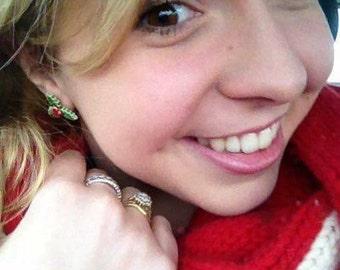 Holly earrings, Christmas red, green ceramic stud posts, Holiday season, handmade Winter fashion