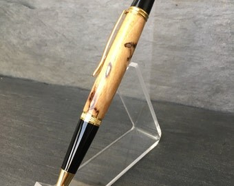 Custom Ballpoint Pen - Spalted Pecan with Black and Gold Accents