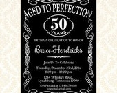 Aged To Perfection Birthday Party Invitation, Printable Vintage Whiskey Bourbon Invitation Cards, Retirement Invite, Any Age or Event