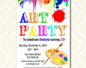 Art Party Birthday Invitation, Printable Artist Party Invites, Paint Party Invite, Arts and Crafts Invitations, Paint Splatter, DIY Digital