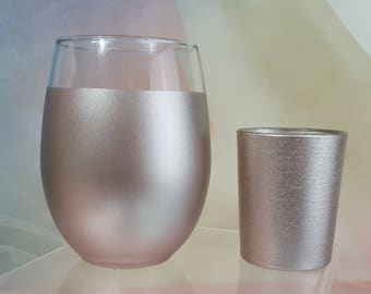 12 per, Champagne Rose Gold and Glitter Glass Wedding Votive Candle Holders for Weddings, Holiday Parties, Engagement, Centerpiece, Neutral