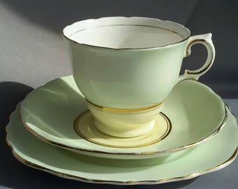 Stunning Colclough Ballet Tea Set, pastel mint and lemon.  Set of 4 trios, with milk jug and sugar bowl
