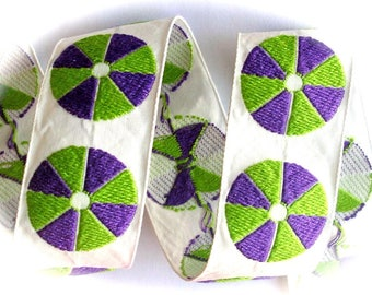 "Vintage Woven Ribbon -  1 3/8""   Natural, Purple and Lime"