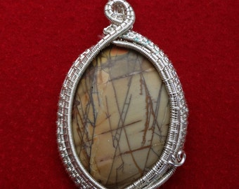 Picasso Jasper Wire Wrapped and Wire Woven Pendant