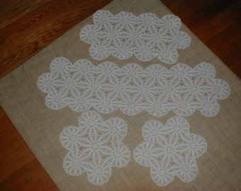 Vintage Four Piece Hand Crocheted Matching Doily Set *Wedding*Showers* Cottage Chic Decor!