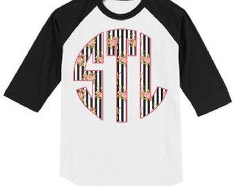 Black & White Striped Floral Monogrammed Raglan T Shirt Heat Pressed Youth-Adult XS, S, M, L, XL, 2XL