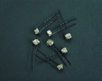 Pyrite Crystal Hair Pins (set of 4)