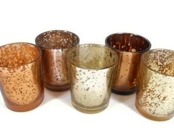 12+ Mercury Glass Votive Candle Holder Gold Votives Copper Mercury Glass Candle Holders Bronze Mercury Glass Tea Lights Bulk Silver Votives