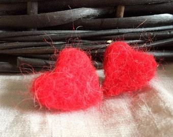 Felt Heart Earrings Felted Jewelry Red Felt Earrings Stud Red Earrings Heart Jewelry for Her