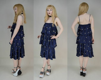 Navy Blue Silk Gold Embroidered Stars Tiered Ruffled Midi Dress M