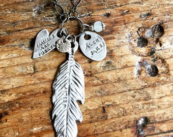 Fine Silver Handcrafted Feather, Heart and Charms Necklace