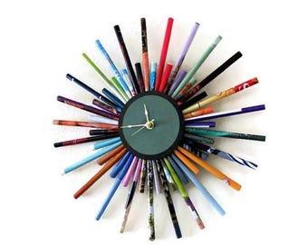 Sunburst Clock, Etsy Art,  Etsy Wall Decor, Home and Living, Home Decor, Paper Decor,  Decor and Housewares, Unique Gift