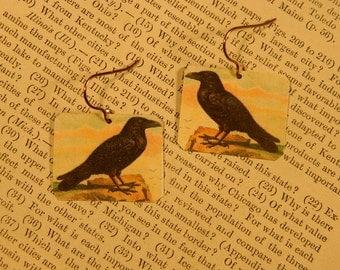 Raven jewelry Crow earrings art jewelry mixed media jewelry