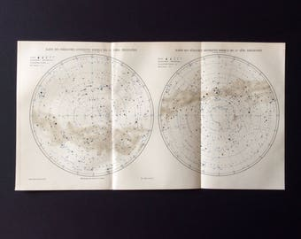 Antique German STAR MAP Lithograph Northen Sky 1890 ASTRONOMY