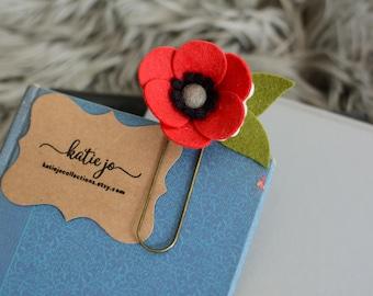 Red Felt Flower Planner Clip/Felt Flower Bookmark/Felt Poppy Planner Clip/Book Accessory/Planner Accessory