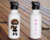 Personalized Superhero Girl Stainless Steel Water Bottle, Personalized Water Bottle, Birthday Gift, Water Bottle For Kids,