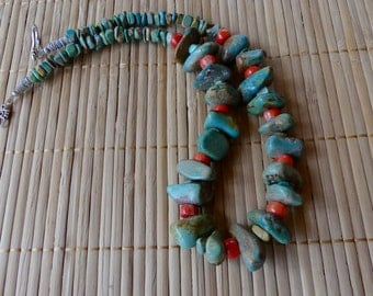 21 Inch Rustic Old Pawn Style Chunky Green Turquoise and Coral Necklace with Earrings