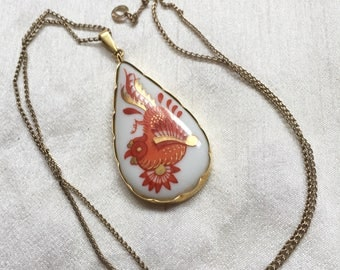 Hand Painted Porcelain Pendant, Bavarian, 8K Gold, European Standard 333, Orange Bird, Vintage Jewelry SPRING SALE