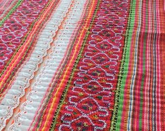 Handwoven cotton  fabrics, Hmong textiles, Ethic fabric, Table runner-from Thailand