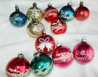 12 Vintage Christmas Stenciled Ornaments