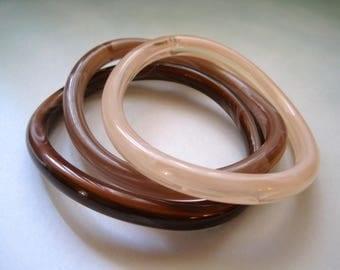 Vintage Bangles in Earth Tones 1980s Marbled Plastic Bracelets Set of Three