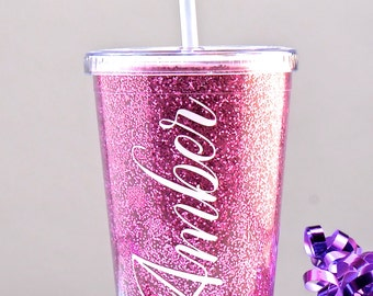 GLITTER TUMBLER, Personalized Sparkle Tumbler, Bridesmaid gift, Bridal Party, Flower Girl Tumbler, Flower Girl Gift,Glitter Personalized Cup