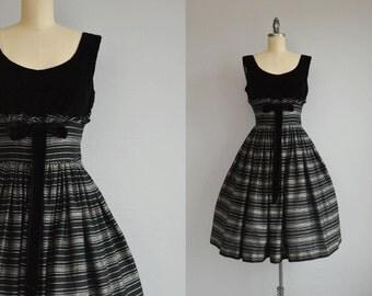 Vintage 1950s Dress / 50s Black Velvet Satin Stripe Party Dress with Full Skirt