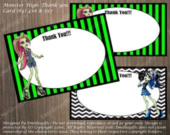 Monster High Thank You Note Cards #4 ~INSTANT DOWNLOAD~