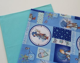 SHOP CLOSING SALE  Blue Holly Patchwork and Aqua Blue Fabric - Two yards