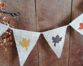 Maple Leaf Burlap Banner, Burlap Pennant, Rustic Fall Decor, Flag, Bunting, Pennant Photo Prop...Home Decoration,  Nature themed, FALL