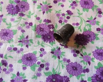 lavender and purple floral print vintage cotton batiste fabric