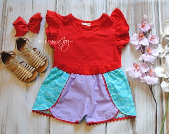 Little Mermaid Coachella Shorts - Ariel Inspired Birthday Outfit -  Princess Outfit - Princess Shorts - Ariel Outfit - Mermaid Shorts