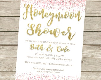 Printable Honeymoon Shower Party Invitations, 5x7, Gold Dots