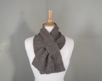 Alpaca Wool Keyhole Scarf, Pull Through Neck Scarf, Natural Brown, Hand Knit, Men or Women, Warm Winter Short Scarf