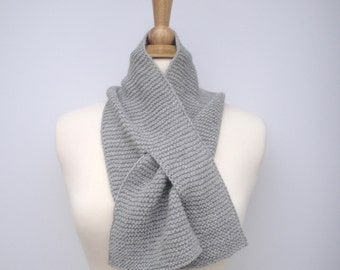 Light Gray Keyhole Scarf, Pull Through Neck Scarf, Angora Alpaca Wool, Short Knit Scarf, Womens Neck Warmer, Soft Silver Gray
