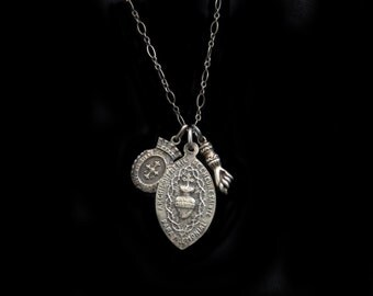 Beautiful Antique Solid Silver Holy Medals (the Sacred Heart on One & Holy Mother on the Smaller) and TINY Sterling Antique Figa Necklace