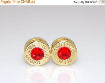 30% OFF SALE Bullet Earrings. July Birthstone. Ruby . 9mm Luger.