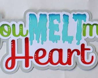 CraftECafe Paper Piecing You Melt my Heart title, Winter, Boy Premade Layouts