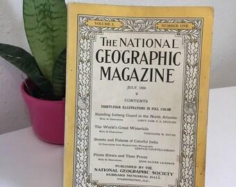 Vintage Magazine, July 1926, National Geographic, free shipping US & Canada