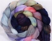 Hand dyed merino/ silk top for spinning  - White Nights - (4.8 oz.) merino/ sw merino /silk ( 40/40/20)