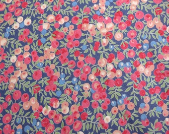 Vintage LIBERTY Of LONDON Tana Lawn Cotton Fabric  'Wiltshire' Red/Blue/Peach Berries Fat Quarter 18 X 17 in