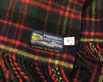 Vintage Wool Blanket,EdinBurgh wool Throw,100% Wool,Green and Navy Plaid