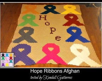 C2C Graph, Hope Ribbons Afghan C2C Crochet Graph and Written Word Chart