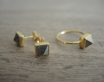 Gold Pyrite Studs, Gold Pyrite Stud Earrings, Gold Pyrite Ring, Gold Pyrite Earrings, Gold Pyrite Jewelry Sets, Pyramid Studs, Gifts For Her
