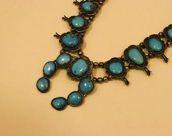 1960s Authentic Vintage NAVAJO Sleeping Beauty Turquoise SQUASH BLOSSOM Necklace