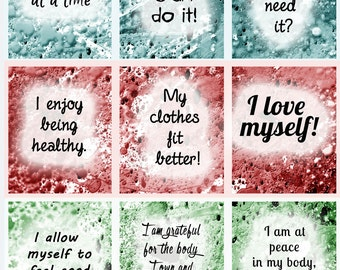 Weight loss, affirmation cards, motivational cards, printable weight loss affirmations, printable download, instant download,